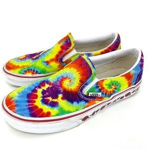 Vans Slip On Tie Dye and Roses Custom Sneakers